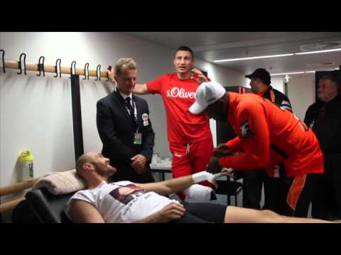 TYSON FURY HAVING HIS HANDS WRAPPED & TELLS VITALI KLITSCHKO THAT HE WILL CALL HIM OUT AFTER FIGHT!