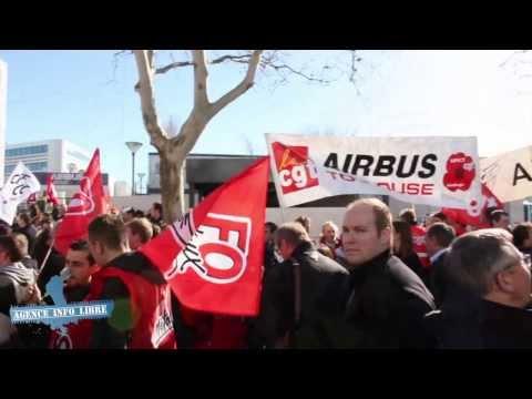 ASTRIUM : Manifestation devant le siège d'Airbus Group à Toulouse