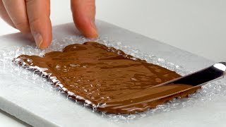Smear Chocolate On Bubble Wrap For A Great Ice Cream Parlor Trick
