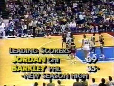 Michael Jordan and Charles Barkley put on a show at The Spectrum. Jordan scores 52 (24/29 FG!!!!), while Sir Charles puts up 42 points (18/25 FG!!!!). Not li...
