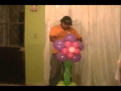 Curso decoracion con globos columna de flores youtube for Adornos con plantas de nochebuena