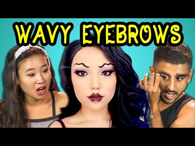 COLLEGE KIDS REACT TO SQUIGGLE EYEBROWS (Makeup Trend)