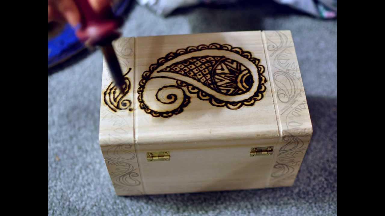 Jewelry box wood pyrography time lapse - YouTube