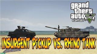 HVY Insurgent Pickup vs. Rhino Tank   GTA 5 Heists Vehicles Tests