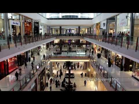 UHD Ultra HD 4K Video Stock Footage Dubai Largest Shopping Mall Center Aquarium Interior People