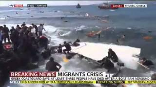 Breaking News-Footage shows the moment a boat carrying more than 80 migrants sank off the Greek isla