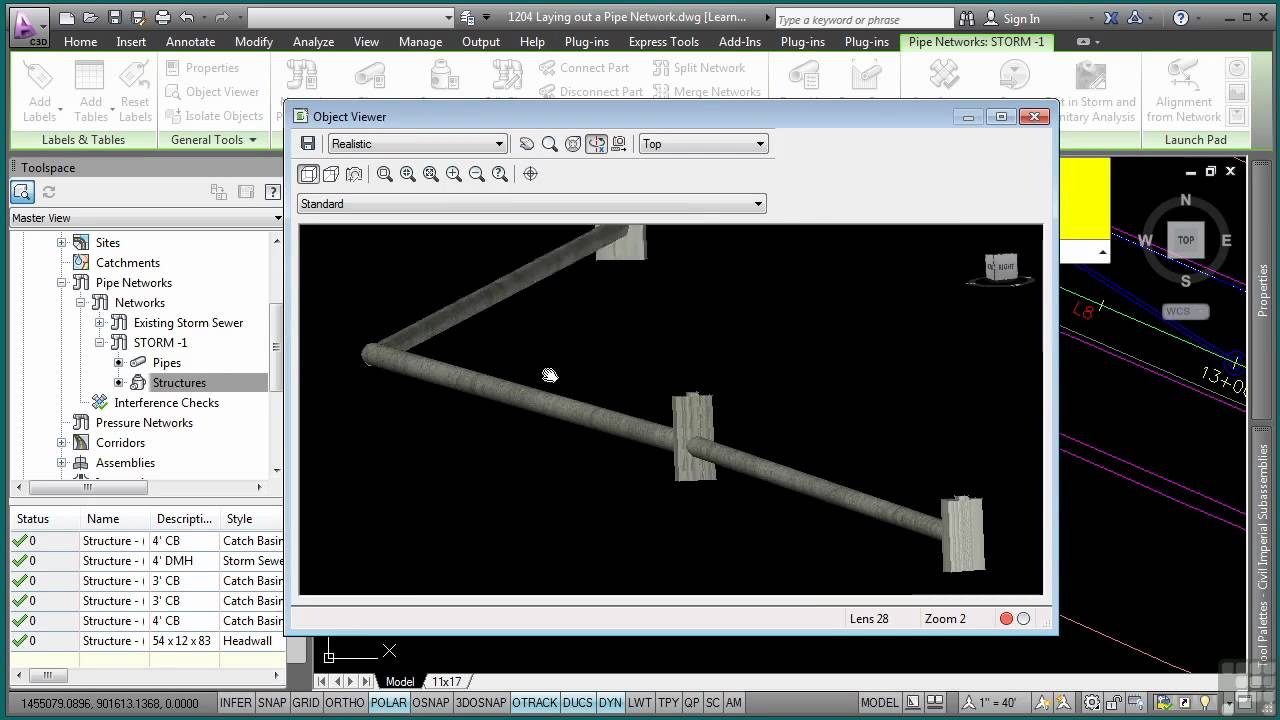 Autocad civil 3d tutorial laying out a pipe network for 3d object editor