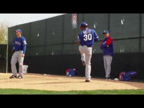 Neftali Feliz pitching a bullpen session during Rangers Spring Training 2010 3/1/10 #2