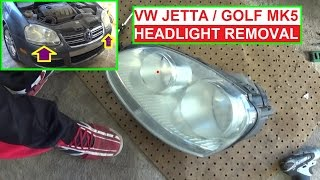 How to remove headlight on VW JETTA A5 MK5 GOLF MK5 . Headlight Removal Replacement