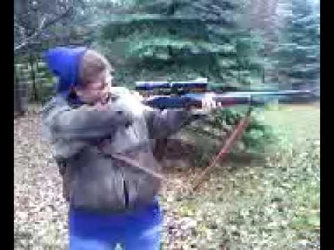 my sister Liz firing a .30 06 Remington  Model 742™ Woodsmaster