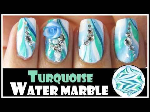 TURQUOISE WATER MARBLE NAIL ART DESIGN FOR SPRING   GREEN BLUE TUTORIAL BEGINNERS EASY FIMO FLOWER