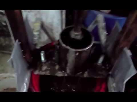 Homemade  briquette press 5 briquettes
