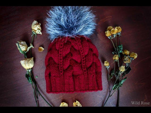 Вяжем шапку с косами ♥ Вяжем спицами ♥  Wild Rose ♥