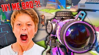LEVEL 1000 1v1 ANGRY TRASH TALKING LITTLE KID on BLACK OPS 3! (HE RAGED OFFLINE!)