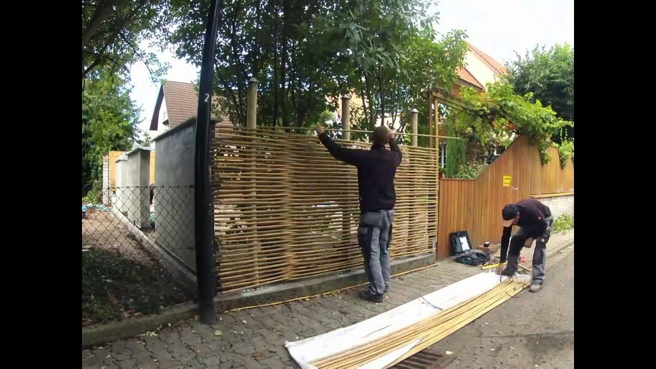Montage Sichtschutz aus Bambus - www.bambus.nl - YouTube