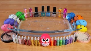 Mixing Makeup, Mini Glitter and Pom Poms Into Clear Slime ! RELAXING SLIME WITH BALLOONS