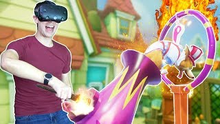 FIRING A STUNT DOG OUT OF A CANNON THROUGH A FLAMING HOOP IN VR! - Stunt Corgi VR HTC VIVE Gameplay