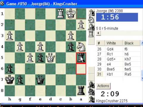 Chess World.net: Blitz #73 vs IM Joorge (2398) - Nimzovich-Larsen attack: modern variation (A01)