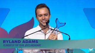 Ryland Adams winning vlogger of the year Shorty Awards 2019