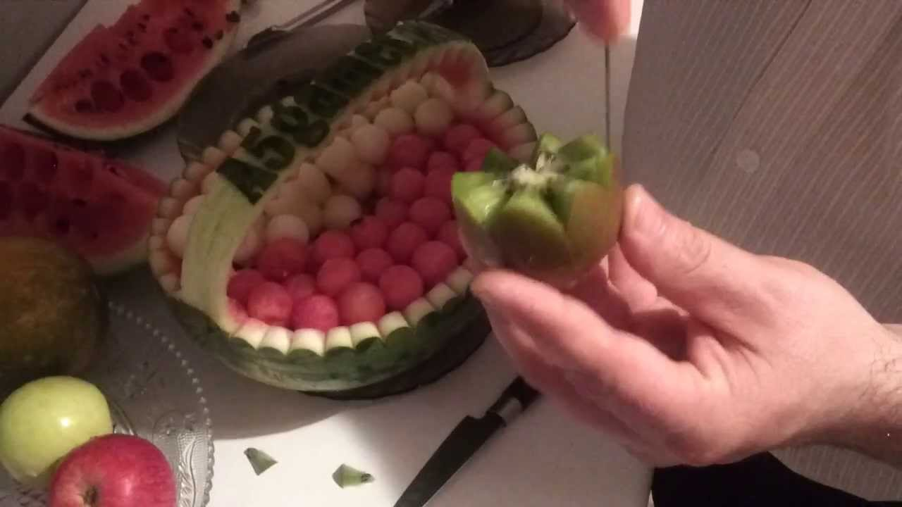 Watermelon carving how to turn into a basket