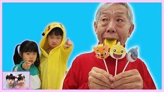 Yuni and Mini Pretend Play Magic Colored Tongue fun kid video Johny Johny Yes Papa 인기동요 Romiyu 로미유