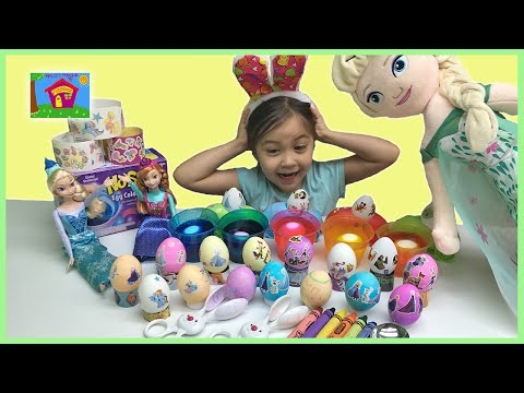 COLORING EASTER EGGS With Frozen Stickers & Zootopia PAAS Kit + Giant Crayons Surprise Eggs Opening