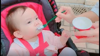 Baby Parthenia's first Starbucks! A BABYCCINO!