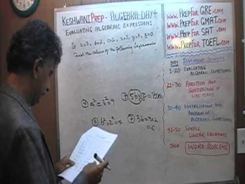 Algebra Help Day 4 - Math Tutor - GRE, GMAT, SAT Prep - Online via Skype KeshwaniPrep.com
