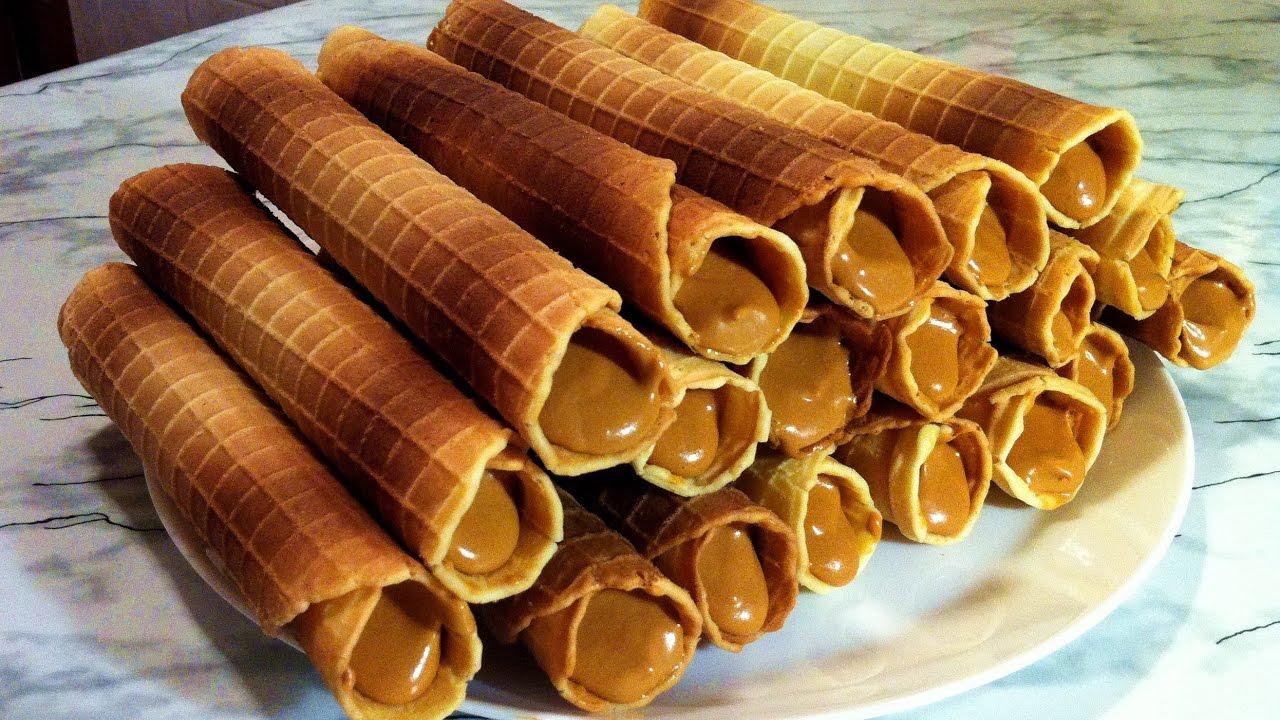 Вафельные трубочки с сгущенкой рецепт пошагово