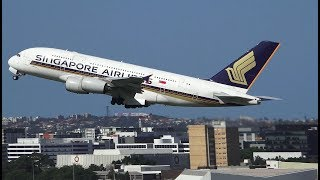 Singapore Airlines A380 Take Off Sydney Airport - SQ222