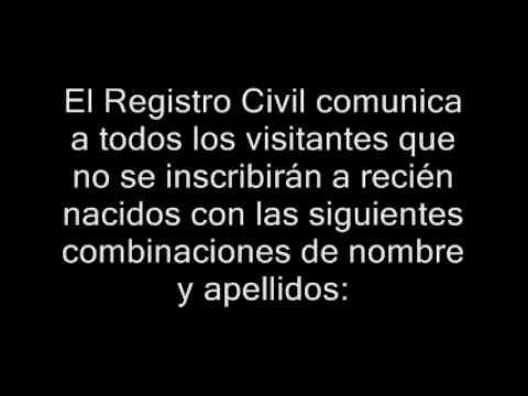 Nombres prohibidos en el Registro Civil - Nuevo reglamento
