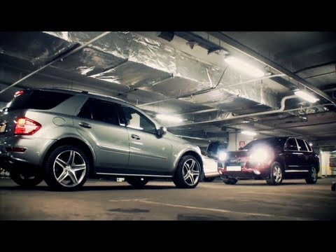Mercedes ML63 AMG vs Porsche Cayenne Turbo vs BMW X6M