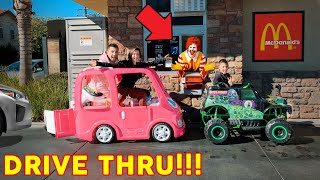 McDonalds Drive Thru In Our TOY CAR POWER WHEELS! | The Royalty Family