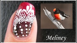 FEATHER LACE STAMPING NAIL ART DESIGN | RED ROBIN KONAD TUTORIAL BEGINNERS EASY BIRD MANICURE