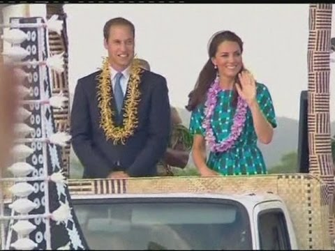 Kate and William ride open-top  boat  float in Solomon Islands