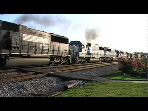 Norfolk Southern 361 & G2A Southbound Going Side by Side!!! Austell,Ga 07-20-2010© (16x9)