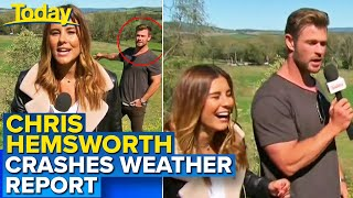 Chris Hemsworth crashes live TV weather report | Today Show Australia