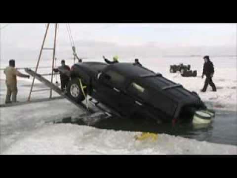 Hummer destroyed by Crash through Frozen Lake
