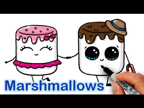 How to Draw Cartoon Marshmallow Cute and Easy