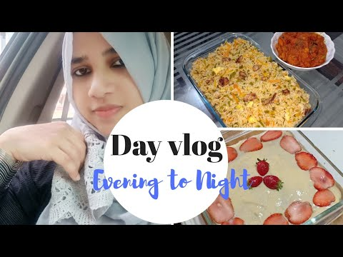 Day vlog-Evening to night /kashmiri chicken curry/chicken fried rice/dessert(my experiment) Recipes