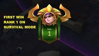 My First Win (Rank 1) on Survival Mode Full Gameplay (Last Man Standing) - Mobile Legends