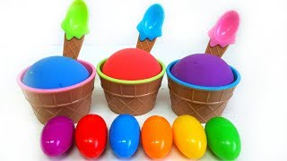Learn Colors Kinetic Sand Mad Mattr Ice Cream Cups Surprise Eggs Video for Kids