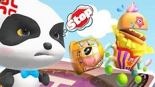 Baby Panda - KiKi Save Miumiu From the Junk Food Monster In Labyrinth Town - Fun Baby Games