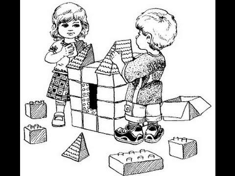 Дети играют с игрушками раскраска