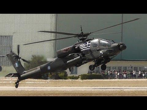 AH-64HA Apache | Takeoff, Airshow Display, Wheelie, Landing | Hellenic Army-AFW2013
