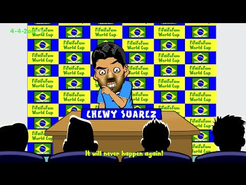 😁LUIS SUAREZ BITE BAN APOLOGY STATEMENT😁 by 442oons (World Cup Cartoon 30.6.2014)