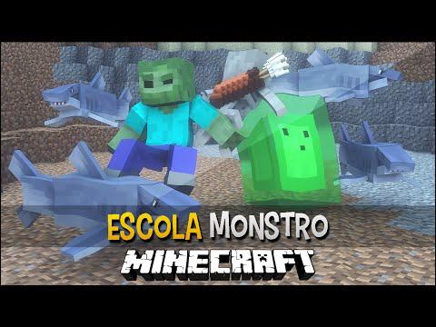 Minecraft Escola Monstro #17 - Nadando Com Tubarões !!  Monster School video