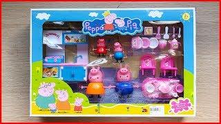 Đồ chơi trẻ em, nhà bếp của gia đình heo Peppa Pig, có bàn ghế, đồ ăn..Toys for kid (Chim Xinh)