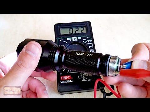 Видео как проверить фонарик мультиметром