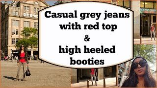 Crossdresser in Amsterdam - grey jeans, red top, high heels booties | NatCrys